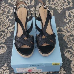 BNIB Antonio Melani Gwenllian Black Wedge Sandals